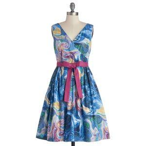 (NWOT) Modcloth Watercolor Swirl Dress